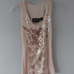 Miss Me peach sequined print Tank top .Size S.